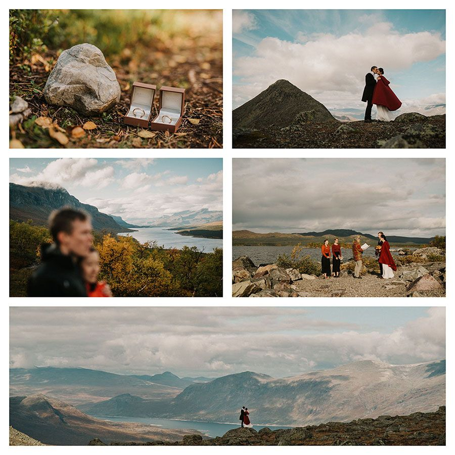 Mountain elopement in polar Sweden. Elopement photograpger